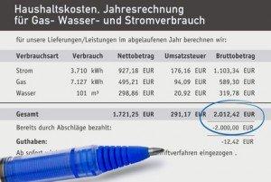 Jahresrechnung für Gas, Strom und Heizung